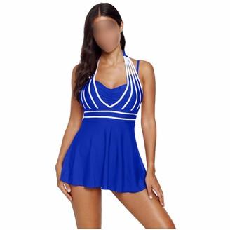 Xinvivion Swimwear Plus Size for Women - Split Lady Tankini Swimming Resorts Beach Swimsuits Blue
