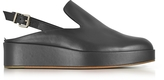 Robert Clergerie Nalice Black Leather Flatform Sandals