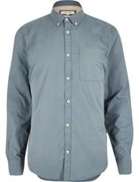 River Island MensBlue twill long sleeve shirt