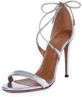 Aquazzura Linda Crisscross Tie-Back Metallic Sandal, Silver