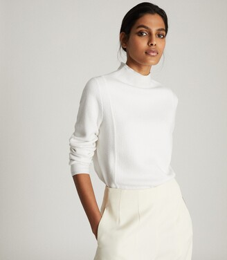 Reiss Marley - Textured High Neck Jumper in Cream