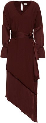 Charli Hope Asymmetric Paneled Satin And Crepe Dress