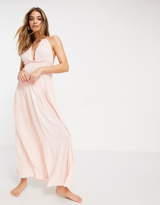 ASOS DESIGN halter tiered maxi beach dress in pink metallic stripe crinkle