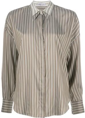 Brunello Cucinelli Pinstripe Contrast-Collar Shirt