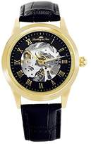 Lindberg & Sons CHP199 - wrist watch for men - skeleton - automatic movement - analog display - black leather bracelet