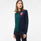 Paul Smith Women's Navy And Green Cashmere Sweater With Embellished 'Strawberry Skull'