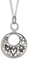 Argentovivo Sterling Silver Marcastie Detail Heart Cutout Circle Pendant Necklace