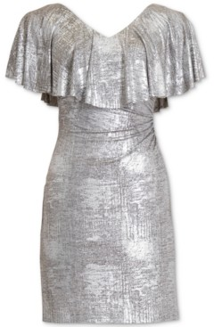 Connected Petite Metallic Cape-Sleeve Dress
