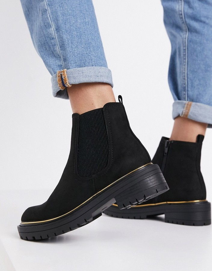 New Look chunky chelsea boot with piping detail in black