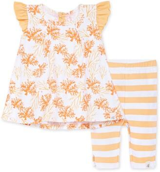 Burt's Bees Watercolor Coral Organic Baby Tunic & Capri Legging Set