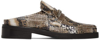 Martine Rose Brown Snake Slip-On Loafers