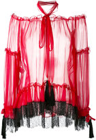 Alberta Ferretti lace detail sheer blouse - women - Silk - 40