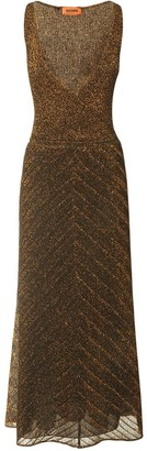 Missoni V Neck Viscose Blend Knit Long Dress