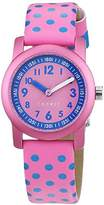 Esprit TP000FA Blue Dots Girl's Quartz Watch with Pink Dial Analogue Display and Pink Imitation Leather Strap ES000FA4036