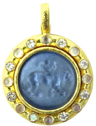 Elizabeth Locke Venetian Glass Intaglio Cerulean 'Cupid Riding Lion' Pendant