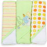 SpaSilk Baby Stripe/Baby Duck/Dots 3-Count Terry Hooded Towel in Green