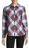 Lord & Taylor Asymmetrical Plaid Shirt