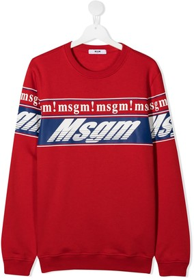 Msgm Kids TEEN multiple logo-print sweatshirt