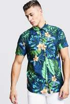 BoohoomanBoohooMAN Mens Blue Floral Print Short Sleeve Shirt, Blue