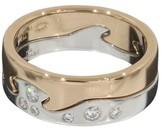 Georg Jensen 18K White Rose Gold Diamonds Fusion Band Ring Size 6.75
