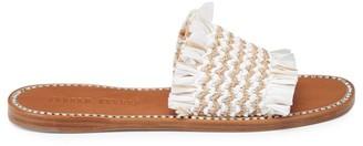 Miu Miu Crystal-Embellished Raffia Sandals