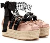 Miu Miu Satin and leather platform ballerinas
