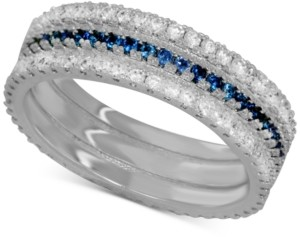 Essentials Sapphire Crystal Band Ring in Fine Silver-Plate