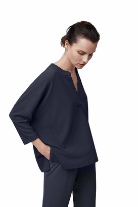 b new york Women's 3/4 Sleeve Split Neck Boxy Top