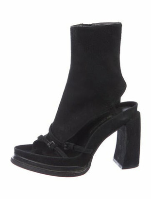 Ann Demeulemeester Suede Cutout Accent Boots Black