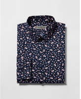 Express fitted floral print long sleeve cotton dress shirt