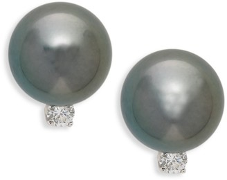 Tara Pearls 14K White Gold 8-9MM Tahitian Pearl Diamond Stud Earrings