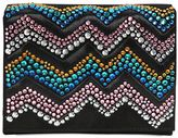 Giuseppe Zanotti Design Zigzag Crystal Embellished Suede Clutch