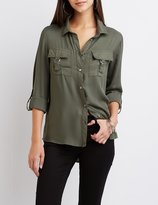 Charlotte Russe D-Ring Pocket Button-Up Shirt