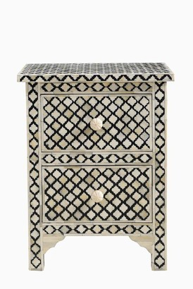 Empress Homewares Arabesque Bone Inlay 2 Drawer Bedside Black