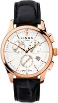 Links Of London Regent Mens Rose Gold Plate & Black Leather Chronograph Watch