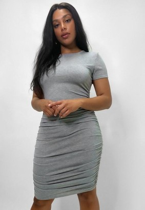 Missguided Plus Size Gray Ruched Side Bodycon Dress