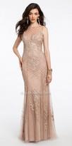 Camille La Vie Beaded Soutache Illusion Evening Dress