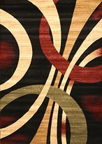 Feraghan/New City Brand New Contemporary Modern Wavy Circles Area Rug, 2' x 7', Black/Brown/Beige