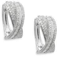 Effy Diamond and 14K White Gold Hoop Earrings, 0.91 TCW
