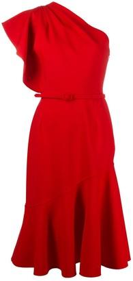 Oscar de la Renta One-Shoulder Midi Dress