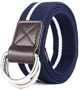 """MIJIU Canvas Web Belt Double D-Ring Buckle 1.5"""" Wide with Leather Tip"""