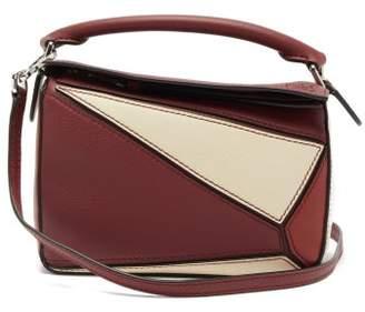 Loewe Puzzle Mini Leather Cross-body Bag - Womens - Burgundy Multi
