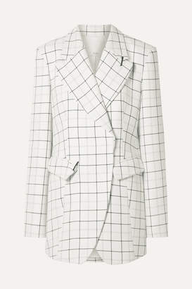 Tibi Embellished Checked Woven Blazer - White