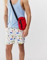 Asos Design DESIGN denim shorts in retro print in shorter length