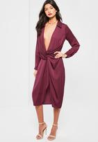 Missguided Purple Silky Wrap Over Midi Dress