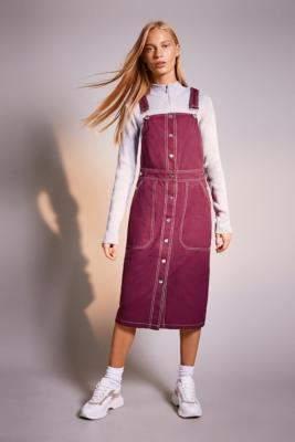 Urban Outfitters Lf Markey Markey by LF Markey Wine Pinafore Dress - red UK 6 at