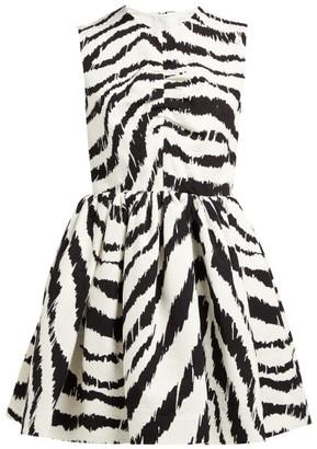 MSGM Zebra-print Cloque Mini Dress - Womens - Black