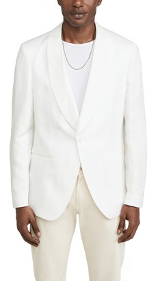 HUGO BOSS White Shawl Collar Linen Blend Sportcoat