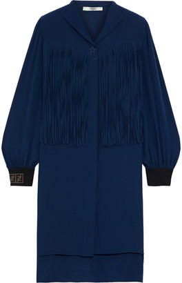 Fendi Fringed Silk Crepe De Chine Mini Dress