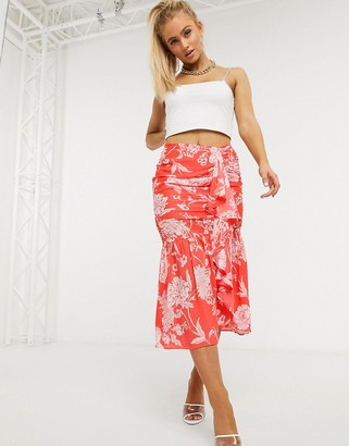 Pretty Darling gathered maxi skirt in tropical